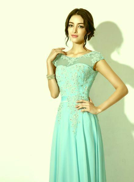 b562bbe0d2 pastelové společenské šaty šifonové na ples mentolové - plesové šaty ...